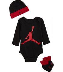 infant boy's nike jumpman baby long sleeve bodysuit, beanie & booties set