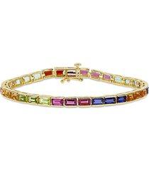 sonatina women's sterling silver & multi-stone tennis bracelet