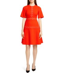 women's lela rose wave trim inset wool blend a-line dress, size 20 (similar to 14w-16w) - red