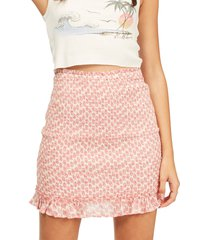women's billabong eyes on you smocked ruffle skirt, size medium - coral