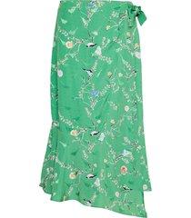 skirt w. wrap look in birdprint knälång kjol grön coster copenhagen