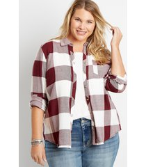 maurices plus size womens maroon buffalo plaid button down shirt red