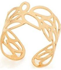 anel aro largo ajustável detalhes vazados folhas rommanel