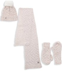 faux fur pom-pom hat, scarf & mittens 3-piece set
