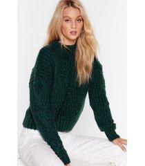 womens you're getting warmer pointelle knit sweater - bottle green