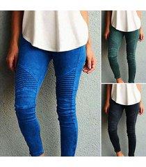 women's slim skinny pencil pants elastic leggings pleated trousers casual s 2xl