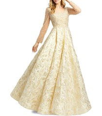 mac duggal women's beaded embossed novelty gown - gold - size 6