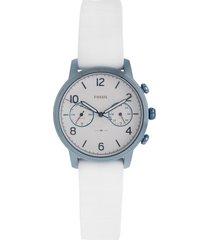reloj blanco-azul metalizado fossil