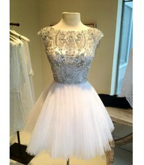 ball gown high neck white tulle short cocktail dress evening dress,prom dress