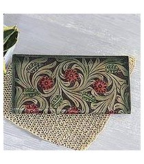 leather wallet, 'swaying vines' (india)