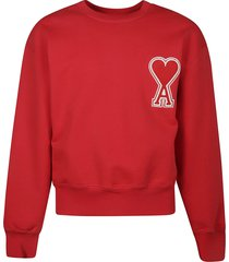 ami alexandre mattiussi heart patch sweatshirt