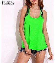 zanzea blusas femininas mujeres del cordón del ganchillo blusas sin mangas mujer o cuello tops camisas casual volver hueco lo más -verde fluorescente