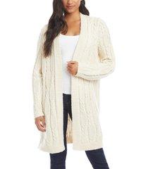 women's karen kane cable knit open front long cardigan, size medium - ivory