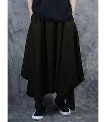 harem holgado asimétrico negro de pierna ancha fina de estilo japonés para hombre pantalones