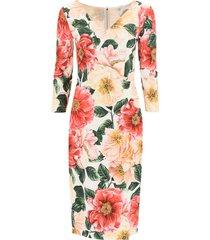 camellia print cady dress