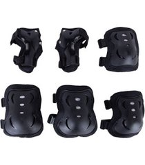 kit de proteção bel fix skateboard e rollers com 1 par de: joelheiras + cotoveleiras + munhequeiras - preto