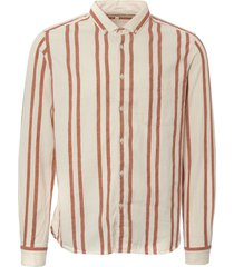ymc striped dean shirt - orange & beige p2kaf-80