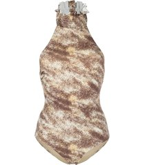 marysia reversible abstract-print swimsuit - brown