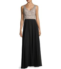 embellished flare gown