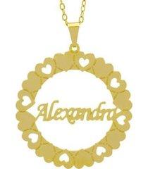 gargantilha horus import manuscrito alexandra banho ouro 18k feminina