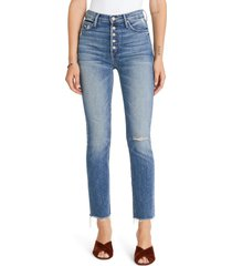 women's mother the pixie dazzler raw hem straight leg jeans