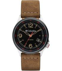 columbia men's canyon ridge brown leather strap watch 42mm