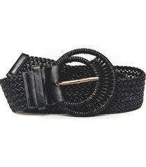cinturon de rafia grueso negro guinda