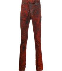 boris bidjan saberi coated skinny trousers - red