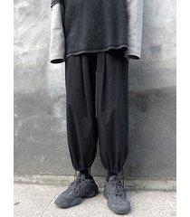 cordón cómodo transpirable estilo coreano para hombre pantalones