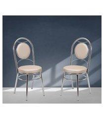 cadeiras para cozinha cromadas bege lilies móveis