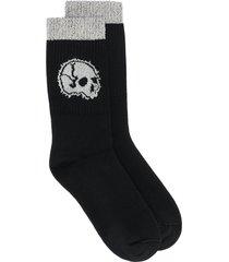 alexander mcqueen skull motif knitted socks - black
