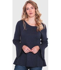 sweater wados escote redondo manga campana azul - calce regular