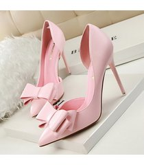 pp256 elegant bowtie pointy pump, pu leather us size 4-8, pink