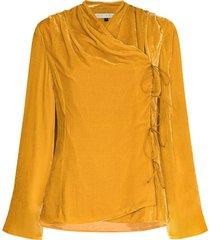 usisi sister roya velvet wraparound jacket - yellow