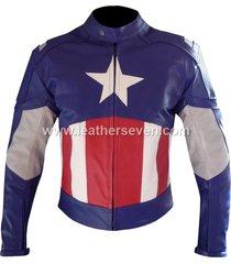 men mens captain america cowhide leather motorcycle motorbike biker jacket