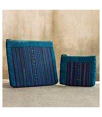 cotton blend cosmetic bags, 'lisu rainforest' (pair) (thailand)