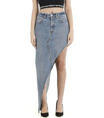alexander wang denim asymmetric skirt