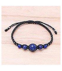 lapis lazuli beaded macrame bracelet, 'blue way' (thailand)