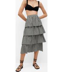 mango ruffle gingham check skirt
