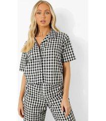 mix & match lichte gingham pyjama blouse, black