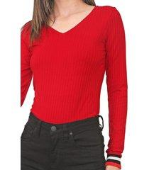 blusa lunender canelada vermelha - vermelho - feminino - viscose - dafiti