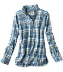 crushed herringbone popover shirt, desert blue pld, x large
