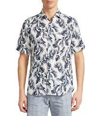 collection leaf-print linen sport shirt