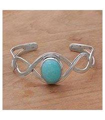 amazonite cuff bracelet, 'dna' (indonesia)