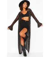 glitter star mesh kimono, black