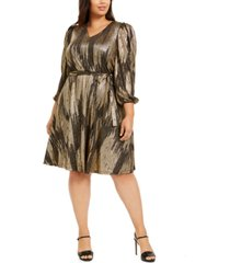 calvin klein plus size belted metallic midi dress