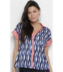 camisa enna manga curta dobrada feminina
