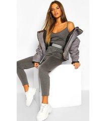petite basic cami strap jumpsuit, grey marl
