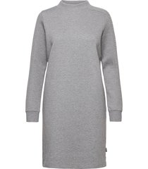 ls funnel neck calvin logo dress dresses t-shirt dresses grå calvin klein