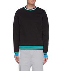 contrast stripe crewneck fleece sweatshirt